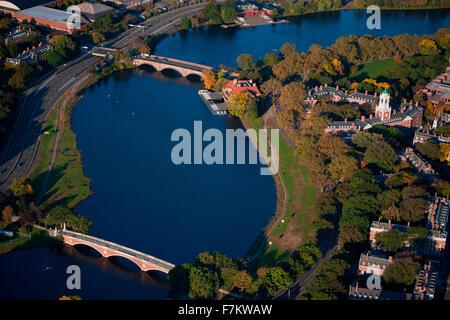 AERIAL VIEW of Charles River with views of John W. Weeks Bridge and Anderson Memorial Bridge, Harvard, Cambridge, - Stock Photo