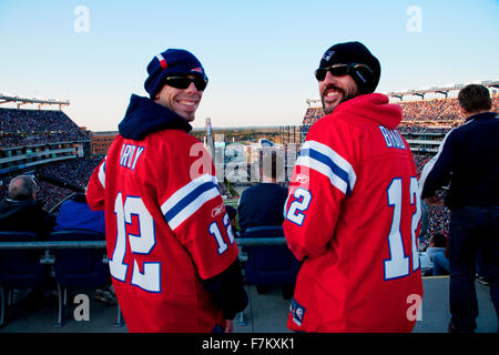 Two New England Patriots NFL Football fansNew England Patriots NFL Football fans at Gillette Stadium, the home of - Stock Photo