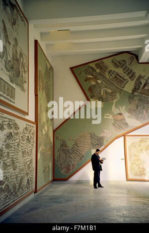 A man stands beneath a mosaic display at the Bardo Museum in Tunis. The Bardo, located in the suburbs of Tunis, - Stock Photo