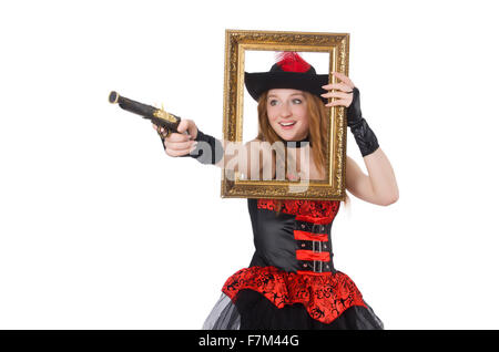 Woman Pirate With Gun And Picture Frame Stock Photo 91448321 Alamy