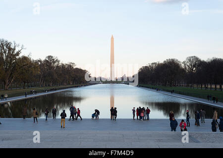 The Washington Monument and reflecting pool in Washington DC as viewed from the Lincoln Memorial.