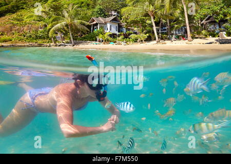 Snorkeling woman with fish, Ko Samet Beach, Thailand, Asia - Stock Photo
