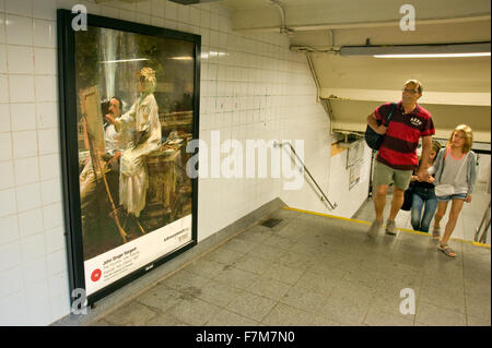 John Singer Sargent painting reproduced on advertising panel in subway station as part of the Art Everywhere event - Stock Photo