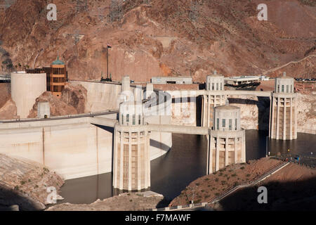 Boulder City, Hoover Dam (formerly Boulder dam) and Lake Mead is in the Black Canyon of the Colorado River on the - Stock Photo