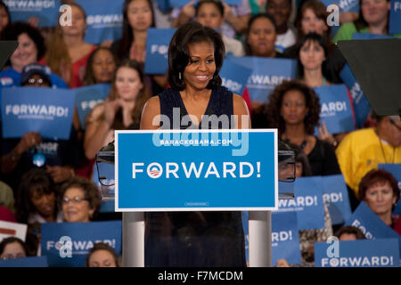 First Lady Michelle Obama speaks at an President Obama campaign rally at Orr Middle School in Las Vegas, October - Stock Photo