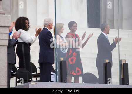 U.S. President Barack Obama, First Lady Michelle Obama, Caroline Kennedy, former president Bill Clinton, talk show - Stock Photo