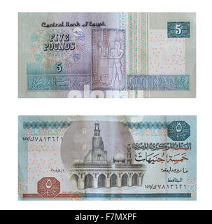 Five pounds. Egyptian money over white  with clipping path - Stock Photo
