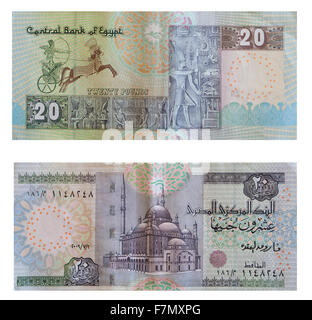 Twenty pounds. Egyptian money over white  with clipping path - Stock Photo