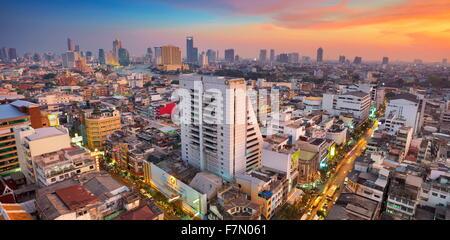 Bangkok, cityscape view from The Grand China Princess Hotel at sunset, Bangkok, Thailand - Stock Photo