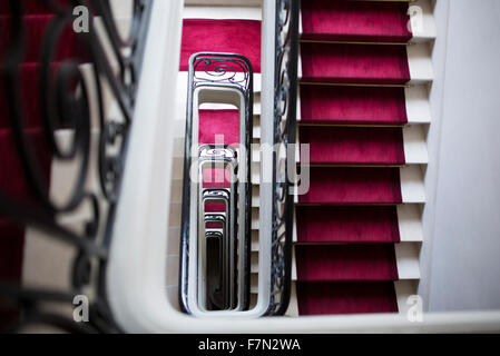 Spiral staircase, high angle view - Stock Photo