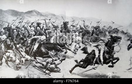 Battle of Omdurman, in the Sudan on 2nd September 1898.  Major-General Kitchener destroyed a 52,000 strong army - Stock Photo