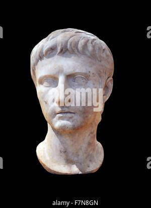 Marble bust of the Emperor Augustus (31 B.C.- 14 A.D. Dated 14 A.D. - Stock Photo