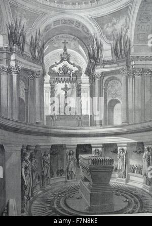 Illustration depicting the  tomb of Napoléon Bonaparte (1769-1821) within the Invalides, France. Dated 1822 - Stock Photo