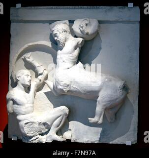 Relief from the Parthenon, a former temple on the Athenian Acropolis, Greece, dedicated to the gofdess Athena. Dated - Stock Photo