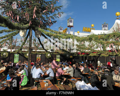 Garden Scenes at Munich Oktoberfest Beer Festival - Stock Photo