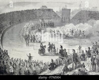 Crowd watches a military spectacle or show in France 1860 - Stock Photo