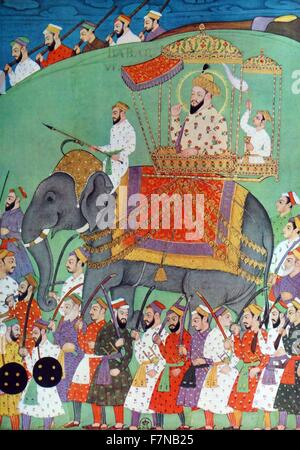 The mughal emperor Babu visits his soldiers while mounted on an elephant. 17th  century.  Babur was a conqueror - Stock Photo
