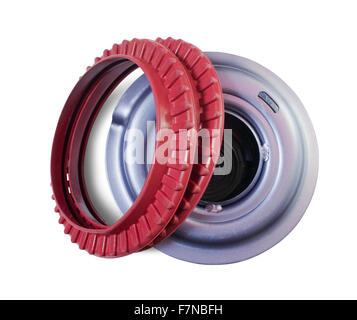 automotive part. shock mount. Isolated on white with clipping path Stock Photo
