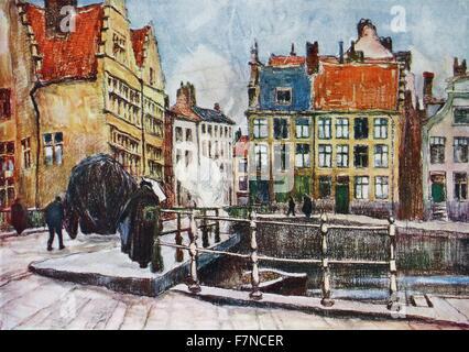 The 'Pont aux Herbes', Ghent by Albert Baertsoen (1866-1922).  Baertsoen was a Belgian painter, pastellist and graphic - Stock Photo