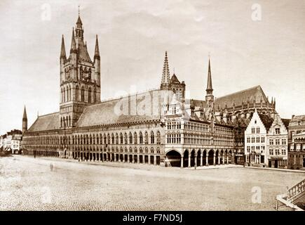 The Cloth Hall at Ypres.  This building was once one of the largest and most impressive Gothic structure in the - Stock Photo