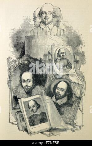 Illustrations of William Shakespeare at different ages. William Shakespeare (1564-1616) an English poet, playwright, - Stock Photo