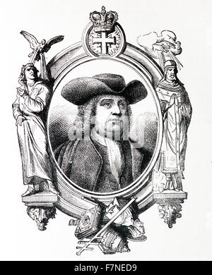 The Founder of a Republic, William Penn (1644-1718). - Stock Photo