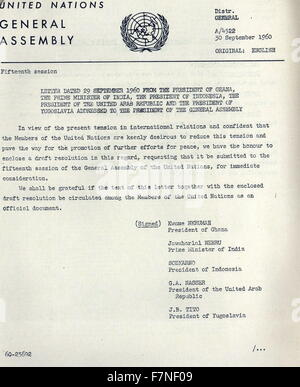 Letter to the President of the United States (Dwight D. Eisenhower) from Kwame Nkrumah, President Sukarno of Indonesia, - Stock Photo