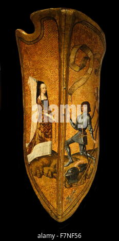 French medieval shield (may have been a gift or a prize in a tournament). Depicts a lady wearing a Flemish pointed - Stock Photo