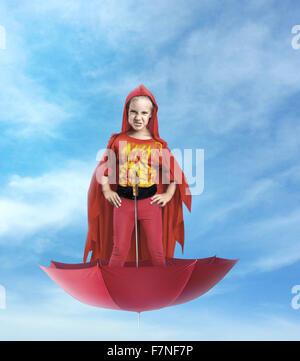 Little girl superhero - Stock Photo