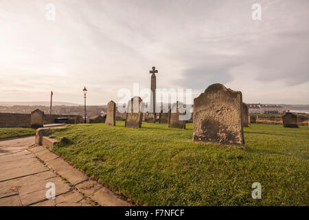View of Whitby from the graveyard of St.Mary's Church on the cliff tops of the east side of the North Yorkshire - Stock Photo