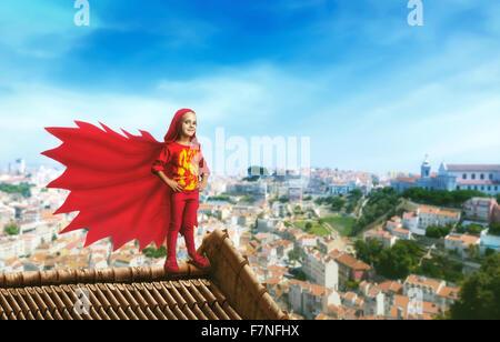 Superhero little girl - Stock Photo
