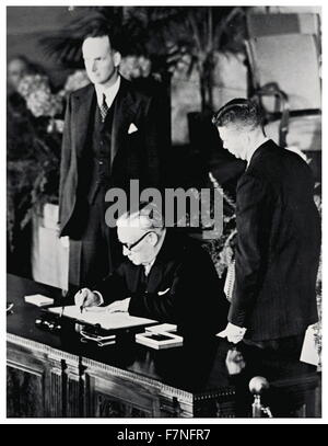 Photograph from the signing of the North Atlantic Treaty. The North Atlantic Treaty, signed in Washington, D.C. - Stock Photo