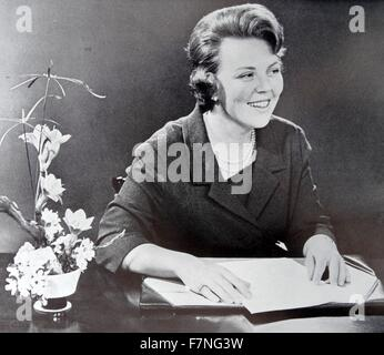 HRH Princess Beatrix  later Queen of the netherlands making a radio broadcast 1963 - Stock Photo