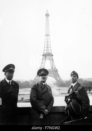 Photograph of Adolf Hitler in Paris, with the Eiffel Tower in the background. Dated 1940 - Stock Photo
