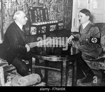 Czech President Hacha with Adolf Hitler 1939. Emil Hácha (12 July 1872 – 27 June 1945) was a Czech lawyer, the third - Stock Photo