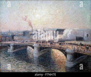 Camille Pissarro (1830 - 1903), The Pont Boieldieu at Rouen, Sunset, 1896. Oil on canvas. Pissarro visited Rouen - Stock Photo