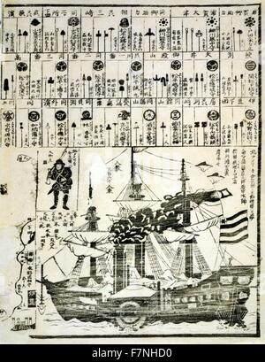 United States of North America: 1860 commofore Perry arrives in Uraga, Soshu Province; Japanese diptych print shows - Stock Photo