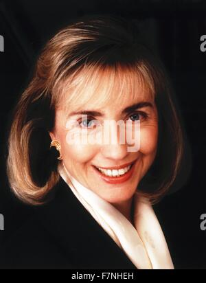 Hillary Clinton, 1992. American politician and wife of President Bill Clinton, of the United States; First Lady - Stock Photo