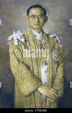 Portrait of Rama IX Bhumibol Adulyadej (1927-) King of Thailand and ninth monarch of the Chakri Dynasty, in ceremonial - Stock Photo