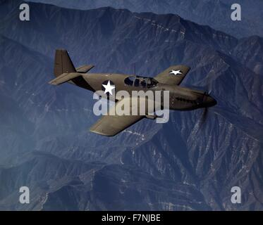 World War Two: P-51 'Mustang' fighter in flight, Inglewoof, Calif. The 'Mustang', built by North American Aviation, - Stock Photo