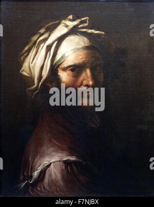 Head of a Man with a Turban by Salvator Rosa (1615-1673) Italian Baroque painter, poet and printmaker. Dated 17th - Stock Photo