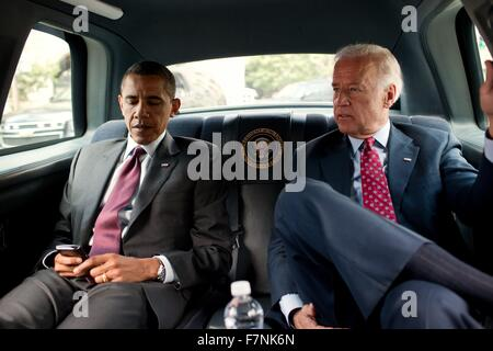 US President Barack Obama and  Vice prsident Joe Biden travel from White House to Ronald Reagan Building in Washington, - Stock Photo