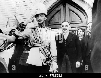 The regent of Iraq with the prime minister General Nuri as-Said, Baghdad, Iraq. Opening of the Iraq Parliament by - Stock Photo