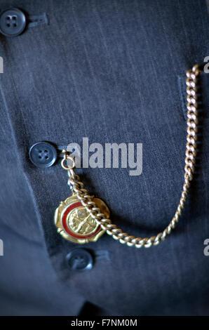 gold watch chain - Stock Photo