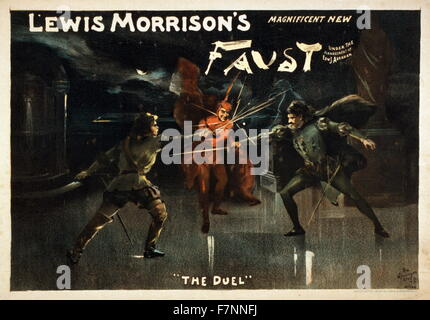 Advertisement poster for Lewis Morrison's 'Magnificent New Faust'. Showing a scene titled 'The Duel'. - Stock Photo