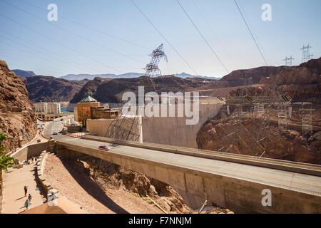 View on Hoover Dam in the desert of Nevada - Stock Photo