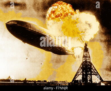 The Hindenburg disaster. The German passenger airship caught fire during its attempt to dock with a mooring mast - Stock Photo