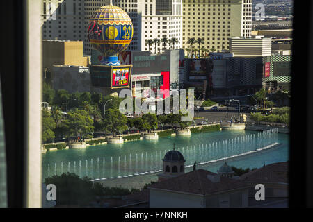 View on Bellagio Fountains from hotel room, Las Vegas - Stock Photo