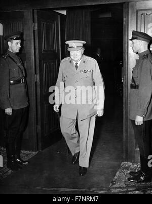 Photograph of British Prime Minister Winston Churchill exiting the conference room in Cecilienhof, Potsdam, Germany - Stock Photo
