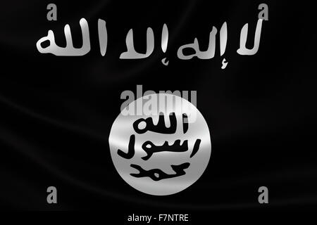 Flag of Islamic State of Iraq and the Levant, a Salafi jihadi extremist militant group and self-proclaimed caliphate - Stock Photo